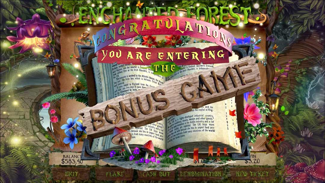enchanted forest pull tab bonus game screen shot