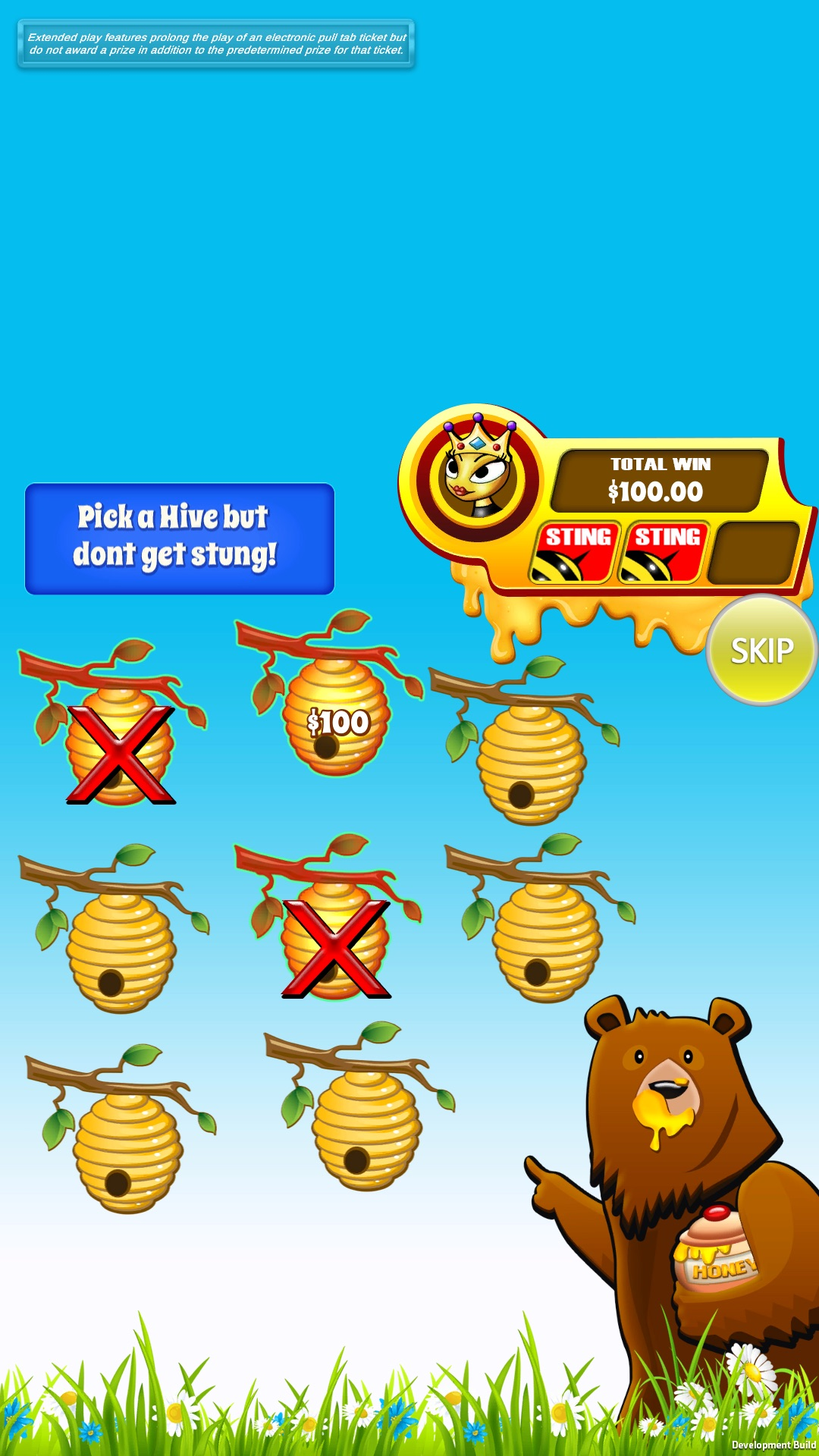 Honeycomb pull tab bonus game screen shot